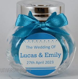 Personalised Glass Mini 50ml Jar Filled With BLue Jelly Beans - Solid Patterned
