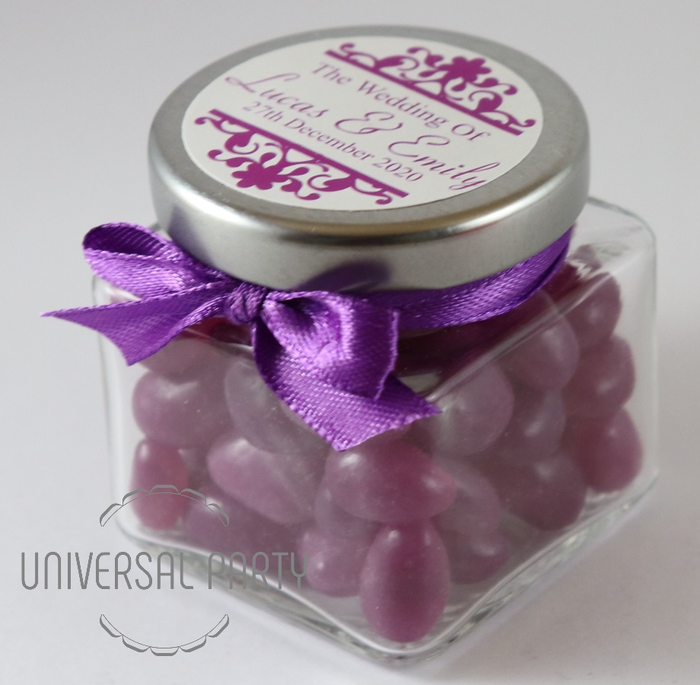 Personalised Glass Square 80ml Jar Filled With Purple Jelly Beans - Patterned