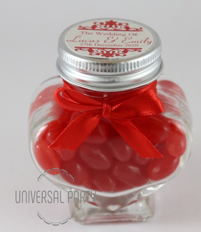 Personalised Glass Heart Shaped 60ml Jar Filled With Red Jelly Beans