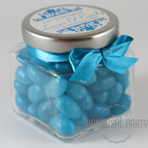 Personalised Glass Square 80ml Jar Filled With Blue Jelly Beans - Patterned