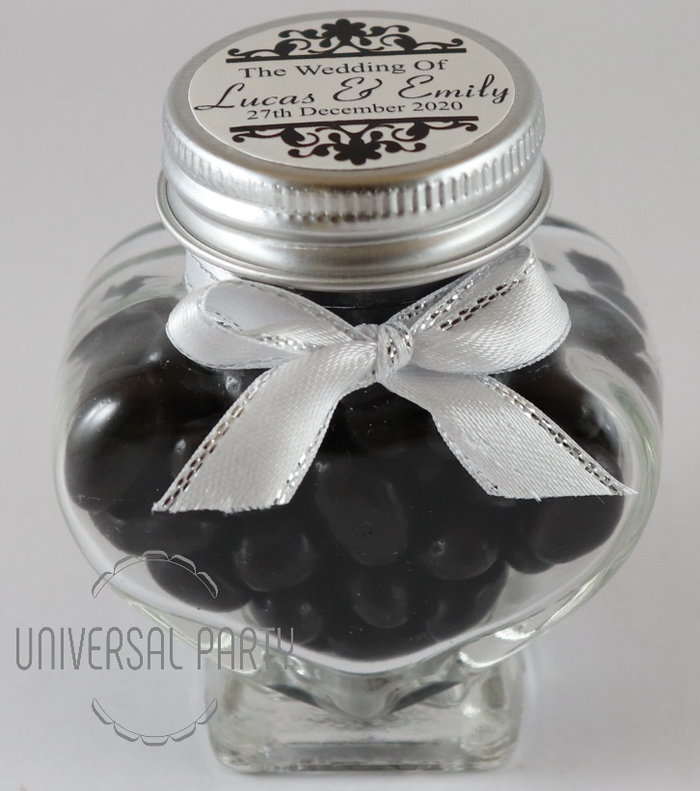 Personalised Glass Heart Shaped 60ml Jar Filled With Black Jelly Beans - Patterned