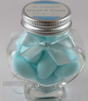 Personalised Glass Heart Shaped 60ml Jar Filled With Blue Sugared Almond