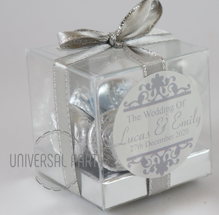 Personalised PVC Box Filled With Hersheys Kisses Chocolate - Silver Patterned