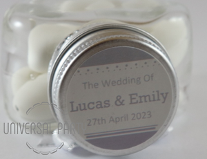 Personalised Glass Heart Shaped 60ml Jar Filled With White Sugared Almond