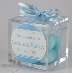 Personalised Square Acrylic Box Filled With Blue Sugared Almonds - Solid Patterned