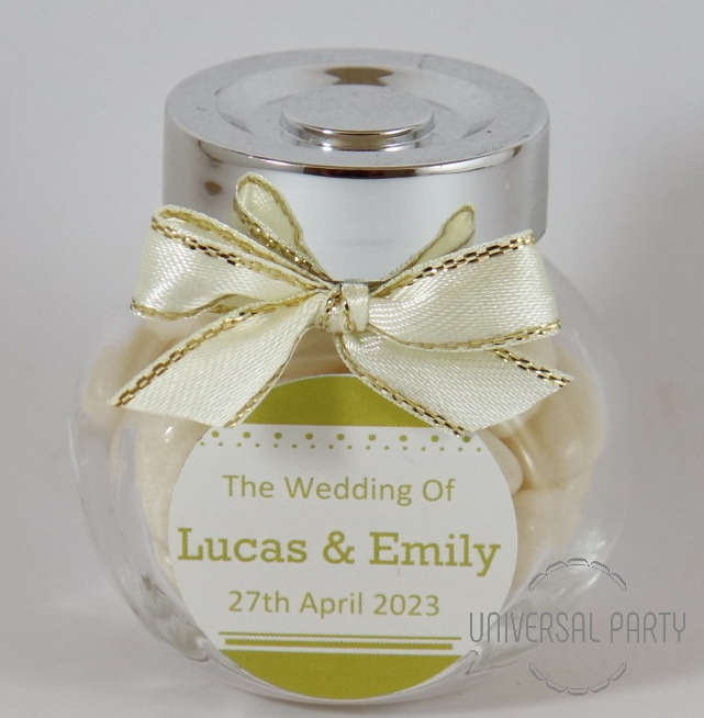 Personalised Glass Mini 50ml Jar Filled With White Jelly Beans