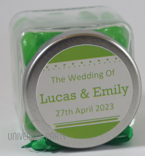 Personalised Square 80ml Jar Filled With Green Jelly Beans - Solid Patterned