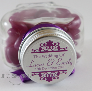 Personalised Glass Heart Shaped 60ml Jar Filled With Purple Jelly Beans