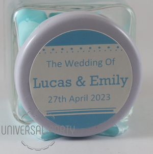 Personalised Glass Square 80ml Jar Filled With Sugared Almond - Solid Patterned