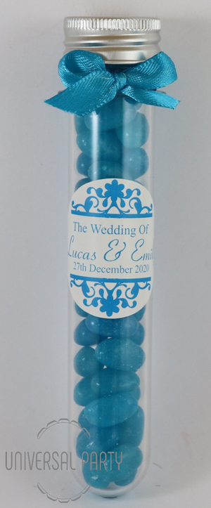 Personalised Acrylic Test Tube Jar Filled With Blue Jelly Beans - Patterned