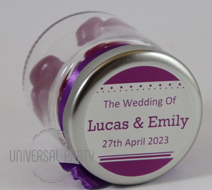 Personalised Glass Round 60ml Jar Filled With Purple Jelly Beans