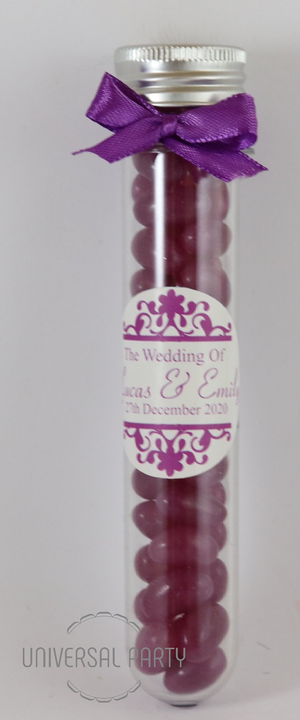Personalised Acrylic Test Tube Jar Filled With Purple Jelly Beans - Patterned