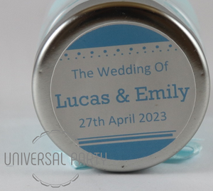 Personalised Round 60ml Jar Filled With Sugared Almond - Solid Patterned