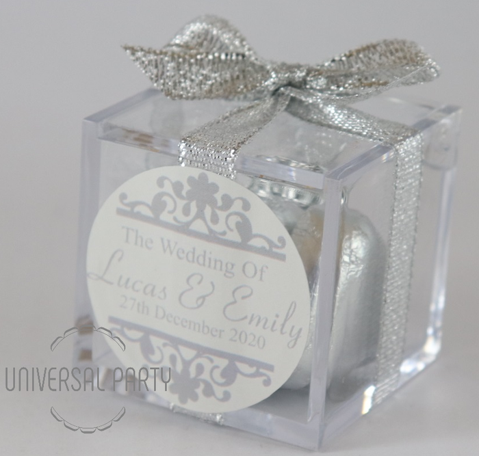 Personalised Square Acrylic Box Filled With Silver Foiled Wrapped Chocolate Hearts