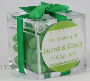 Personalised Square Acrylic Box Filled With Green Jelly Beans