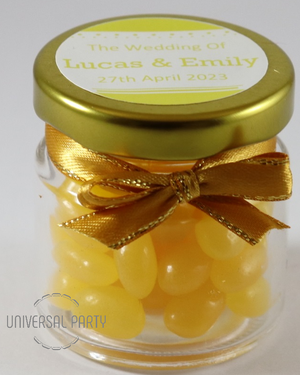 Personalised Glass Round 60ml Jar Filled With Yellow Jelly Beans - Solid Patterned