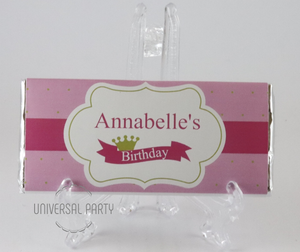 Personalised Pink Gold Crown Themed Chocolate Bar