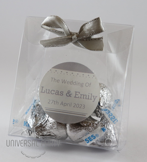 Personalised PVC Box Filled With Hersheys Kisses Chocolate - Silver Solid Patterned