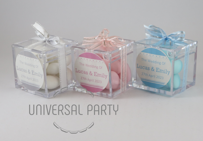 Personalised Square Acrylic Box Filled With Sugared Almond - Solid Patterned