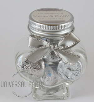 Personalised Glass Heart Shaped 60ml Jar Filled With Chocolate Hersheys Kisses - Silver Solid Patterned
