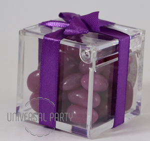 Personalised Square Acrylic Box Filled With Purple Jelly Beans