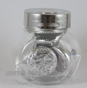 Personalised Glass Mini 50ml Jar Filled With Hersheys Kisses Chocolate - Silver Patterned