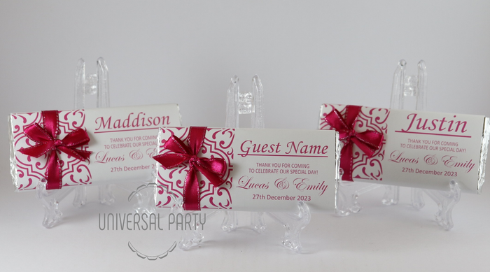 Personalised Individual Guest Names Hot Pink Pattern Chocolate Bar With Ribbon