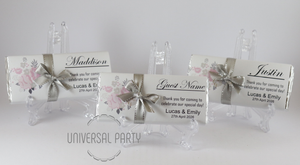 Personalised Individual Guest Names Soft Pink Silver Floral Pattern Chocolate Bar With Ribbon