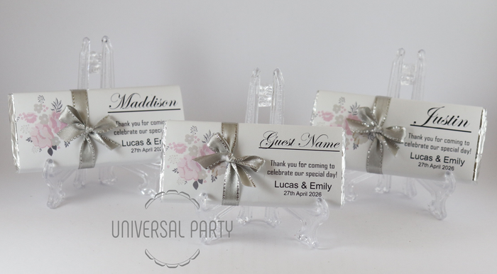 Personalised Individual Guest Names Pink Grey Floral Pattern Chocolate Bar With Ribbon