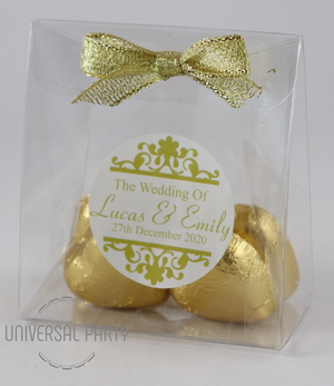 Personalised PVC Box Filled With Gold Foiled Wrapped Chocolate Hearts