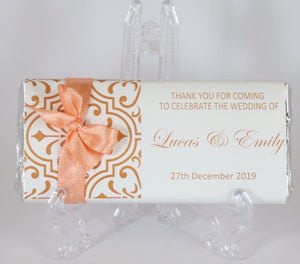 Personalised Orange Pattern Chocolate Bar With Ribbon