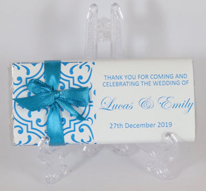 Personalised Blue Pattern Chocolate Bar With Ribbon