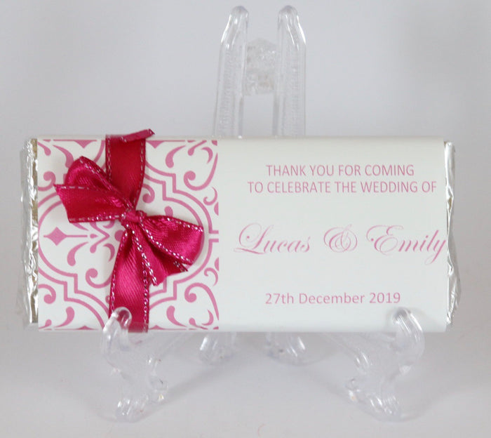 Personalised Pink Pattern Chocolate Bar With Ribbon