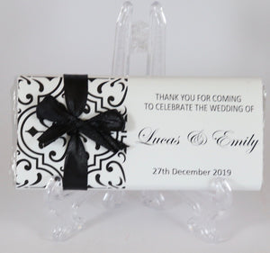 Personalised Black Pattern Chocolate Bar With Ribbon
