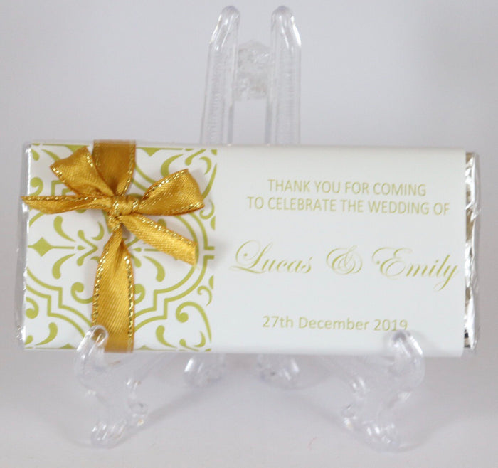 Personalised Yellow Gold Pattern Chocolate Bar With Ribbon
