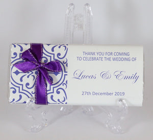 Personalised Purple Pattern Chocolate Bar With Ribbon