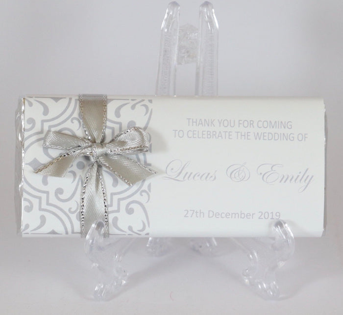 Personalised Silver Pattern Chocolate Bar With Ribbon