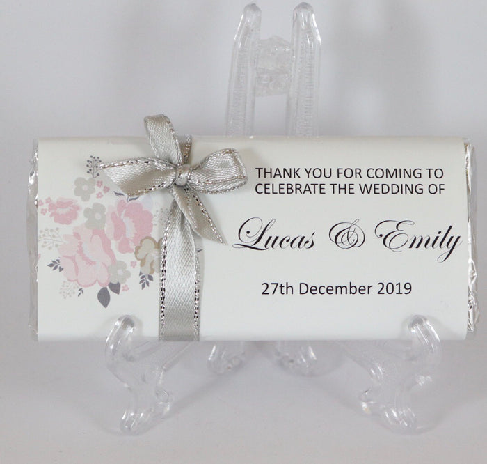 Personalised Soft Pink Silver Floral Chocolate Bar With Ribbon