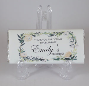 Personalised Greenery Floral Themed Birthday Chocolate Bar