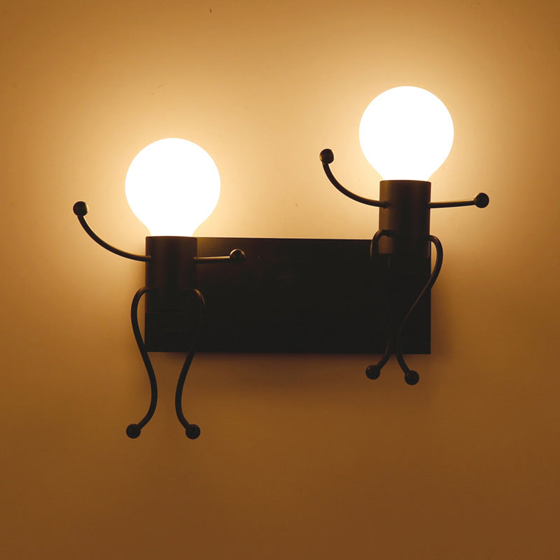 Vintage Industrial Retro Creative Little People Wall Lamps