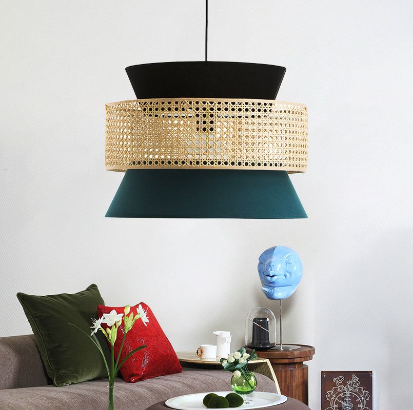 1 Head Bamboo Cage Green Ceiling Pendant Light Shade