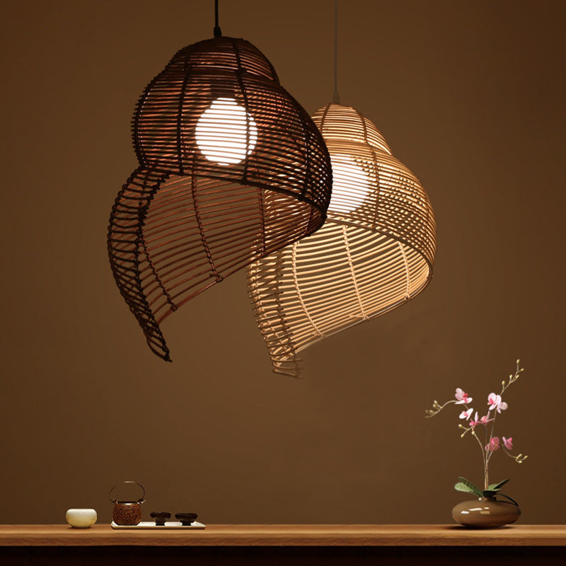 South East Asian Styles Rattan Ceiling Lamp Conch Light Yoga Room Lamp