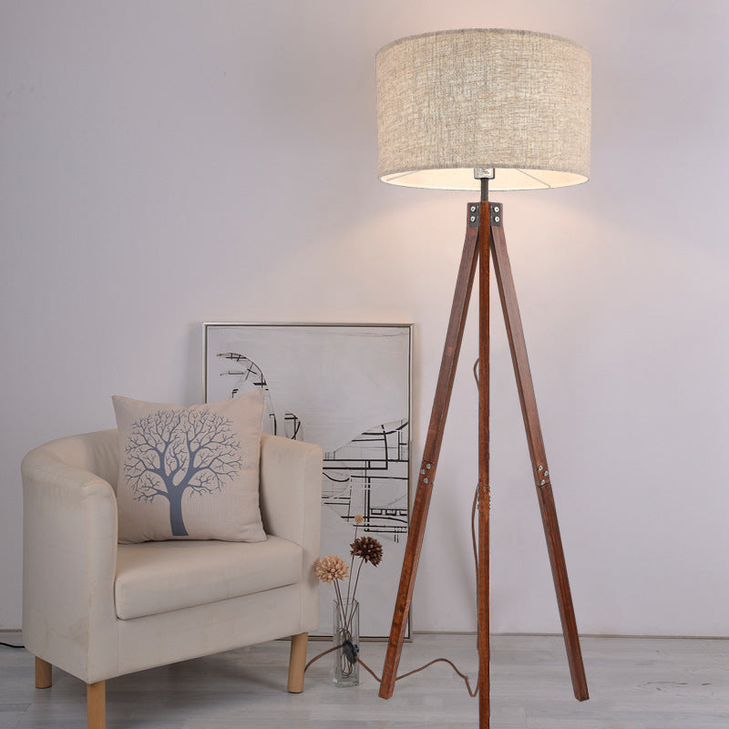Nordic Wood LED Floor Lamp Natural Fabric Warm Lighting