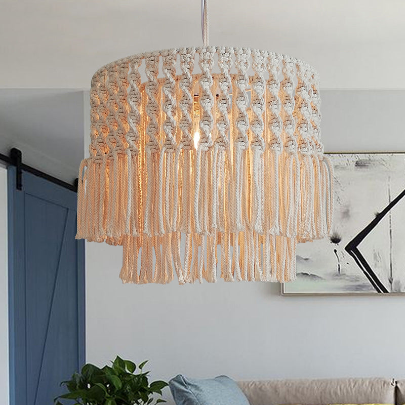 Creative Handmade White Rope Pendant Light For Bedroom