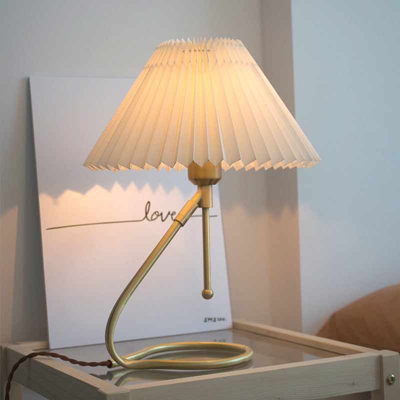 Vintage Brass Table Lamp Pleated Wall Lights