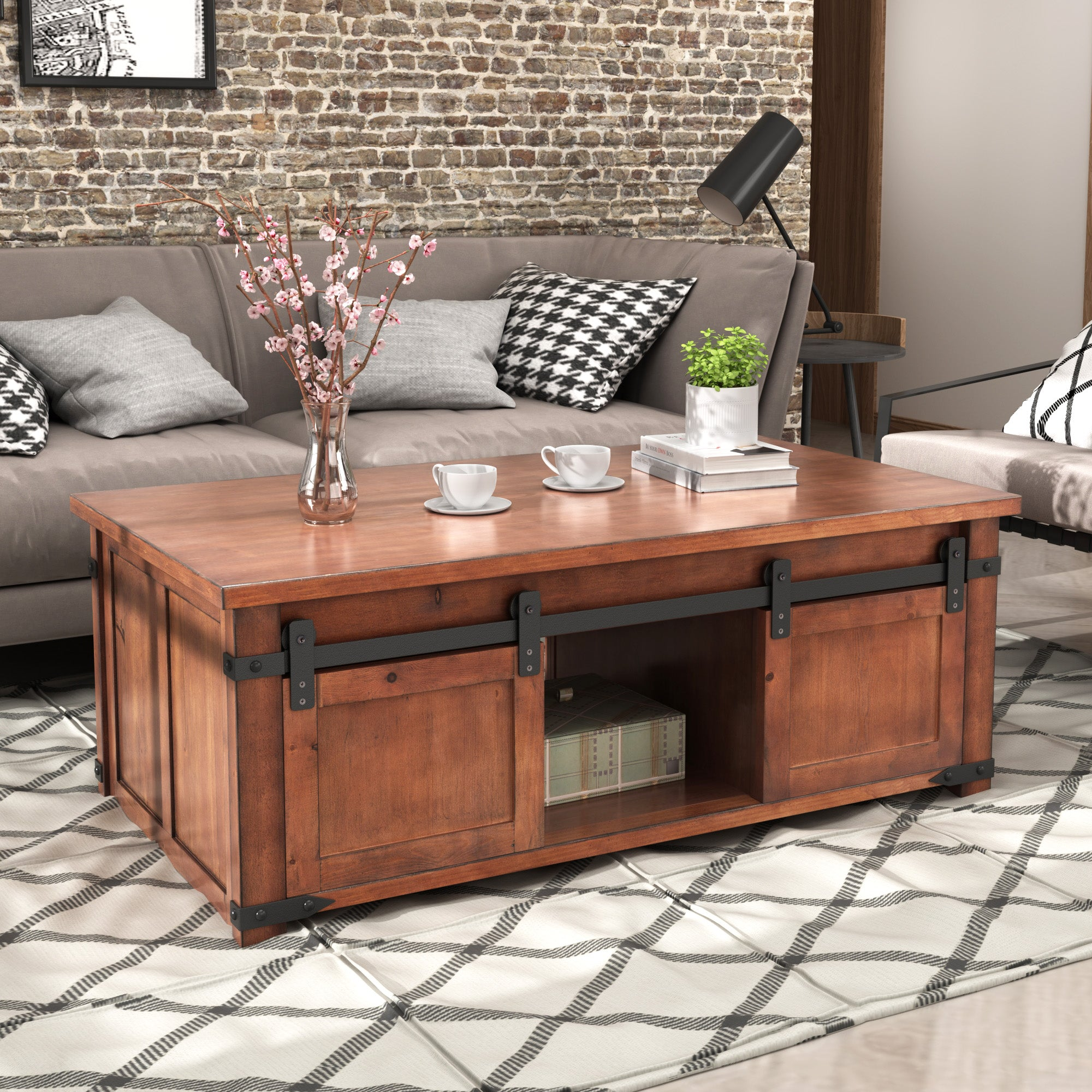 Solid Wood Coffee Table with Storage