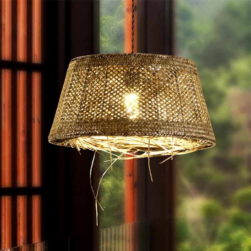 Rattan Wicker Lampshade Handmade Pendant Light