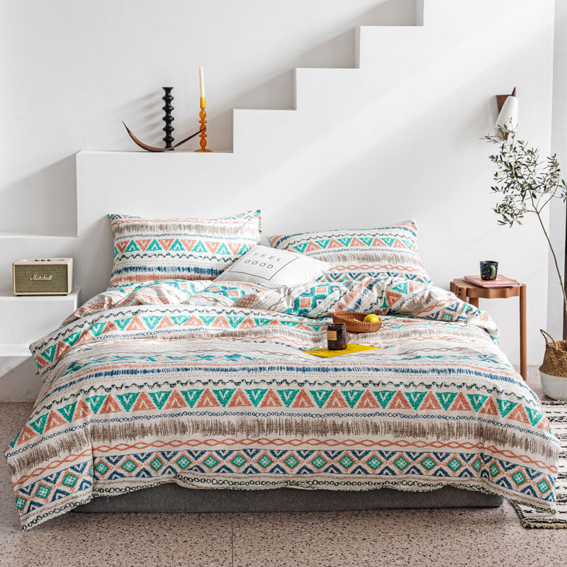 Cotton Bohemian 4 Pieces Duvet Cover Bedding Sets