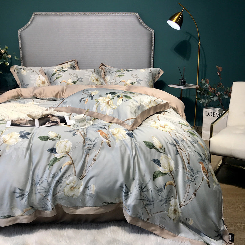 Luxury Floral Printed Tencel Duvet Cover Set 4-Piece Bedding Suit