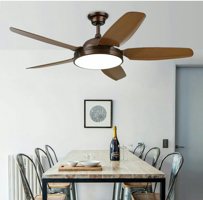 "52"" 5-Blade LED Ceiling Fan with Light Kit and Remote Control"